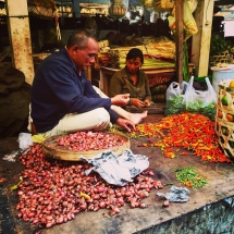 Selling spicy peppers in Bali, Indonesia.