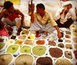 Selection of spices in Old Delhi, India.
